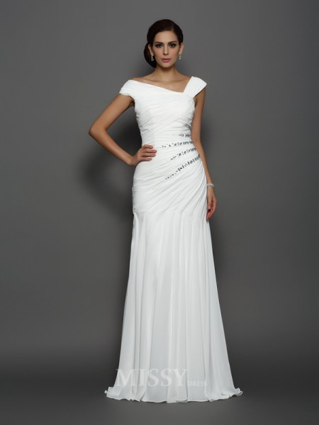 Trumpet/Mermaid Chiffon Sweep/Brush Train Dress With Applique Beading