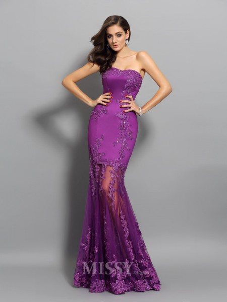 Trumpet/Mermaid Sweetheart Chiffon Beading Floor-Length Dress With Embroidery
