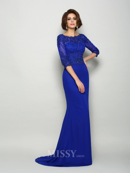 Trumpet/Mermaid Scoop 3/4 Sleeves Chiffon Beading Sweep/Brush Train Mother Of The Bride Dress With Embroidery