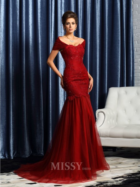 Trumpet/Mermaid Short Sleeves Off-the-Shoulder Satin Beading Sweep/Brush Train Mother Of The Bride Dress With Pleats
