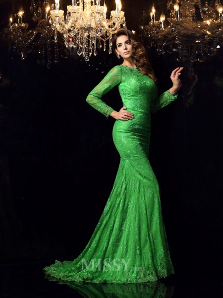 Trumpet/Mermaid High Neck Long Sleeves Court Train Elastic Woven Satin Dress With Embroidery