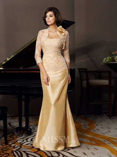 Trumpet/Mermaid Sweetheart Floor-Length Taffeta Lace Mother Of The Bride Dress With Beading
