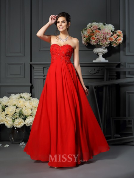 A-Line/Princess Sweetheart Beading Floor-Length Chiffon Mother Of The Bride Dress With Applique