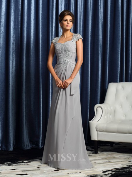 Sheath/Column Sweetheart Short Sleeves Sweep/Brush Train Chiffon Mother Of The Bride Dress With Lace