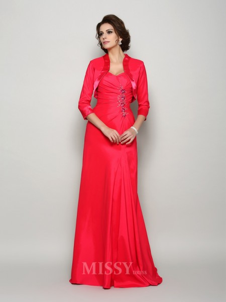 A-Line/Princess Straps Elastic Woven Satin Applique Sweep/Brush Train Mother Of The Bride Dress With Embroidery