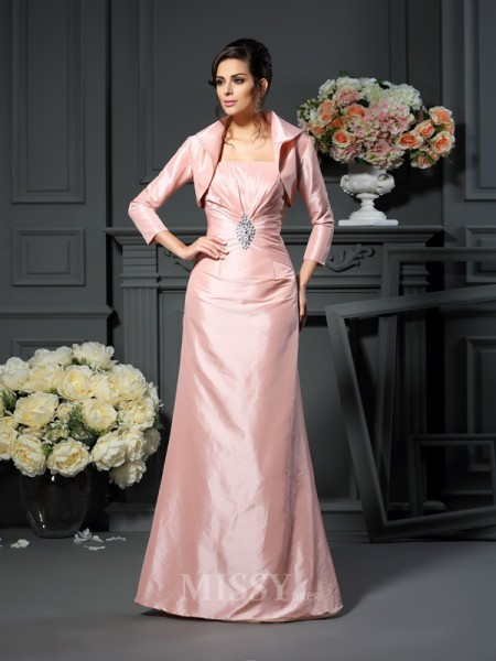 A-Line/Princess Strapless Pleats Floor-Length Taffeta Mother Of The Bride Dress With Pleats