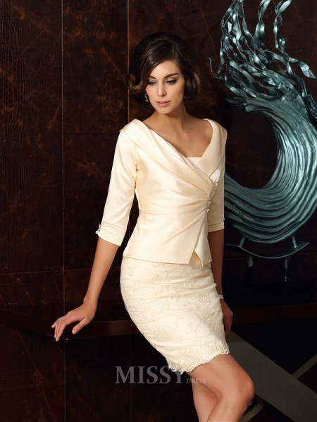 Sheath/Column Strapless Satin Applique Short/Mini Mother Of The Bride Dress With Beading