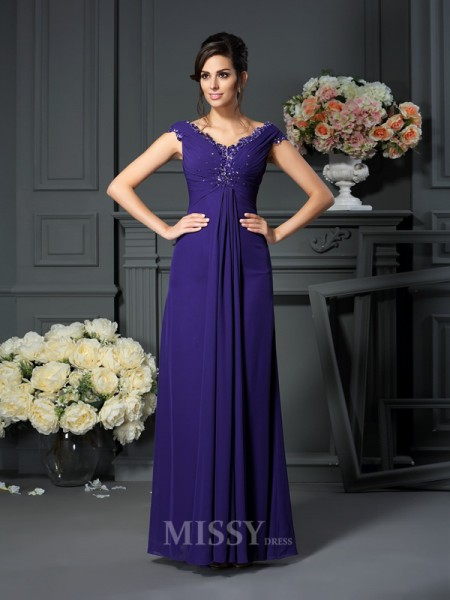 A-Line/Princess V-neck Beading Floor-Length Chiffon Mother Of The Bride Dress With Lace