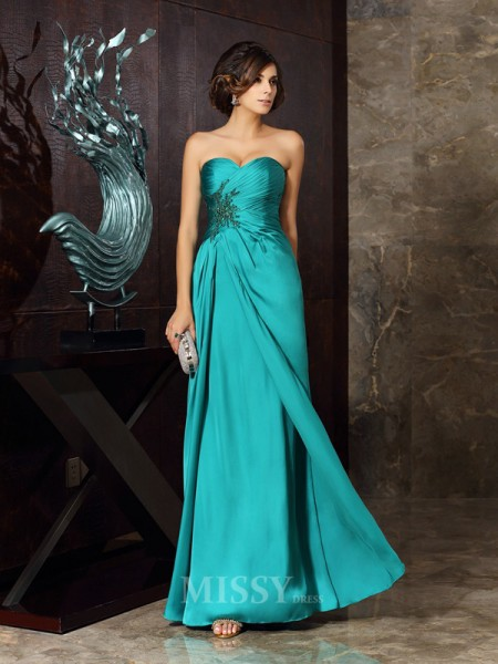 Sheath/Column Chiffon Sweetheart Floor-Length Mother Of The Bride Dress With Embroidery