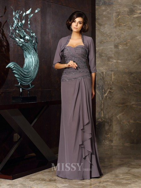 Sheath/Column Chiffon Sweetheart Floor-Length Mother Of The Bride Dress With Pleats Applique