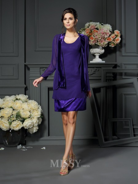 A-Line/Princess Square Chiffon Knee-length Mother Of The Bride Dress With Ruffles Beading
