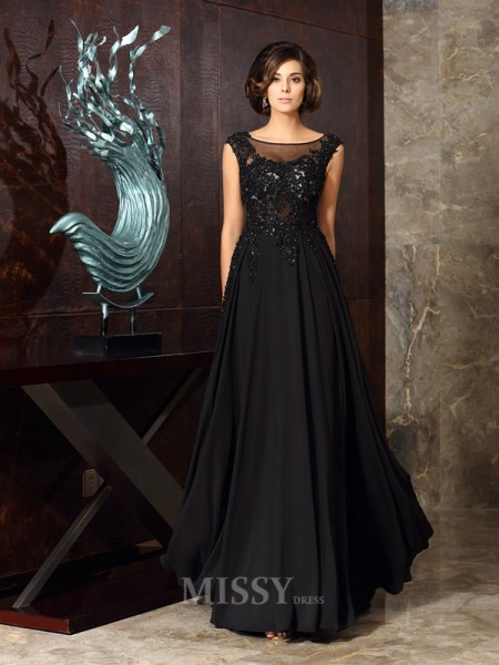 A-Line/Princess Scoop Chiffon Floor-Length Mother Of The Bride Dress With Beading Applique