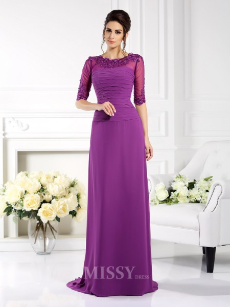 Sheath/Column Scoop 1/2 Sleeves Applique Sweep/Brush Train Chiffon Dress With Rhinestone