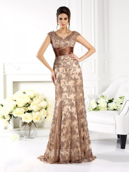 A-Line/Princess V-neck Sweep/Brush Train Satin Dress With Embroidery Ruffles