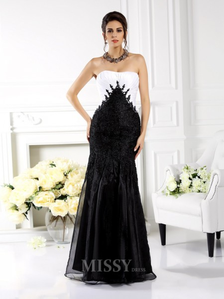 Trumpet/Mermaid Strapless Applique Floor-Length Tulle Dress With Embroidery