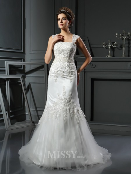 Trumpet/Mermaid Straps Satin Court Train Wedding Dress With Embroidery