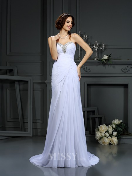 Sheath/Column Sweetheart Sweep/Brush Train Chiffon Wedding Dress With Sash Beading