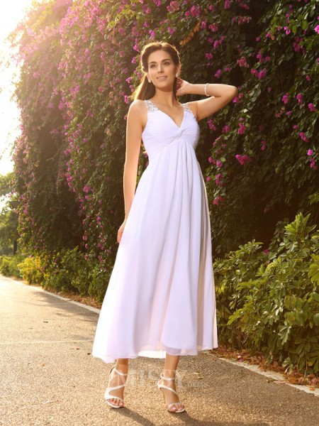 A-Line/Princess V-neck Ankle-Length Chiffon Wedding Gown With Beading