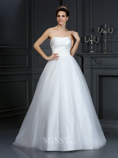 Ball Gown Strapless Court Train Taffeta Wedding Dress With Lace Pleats