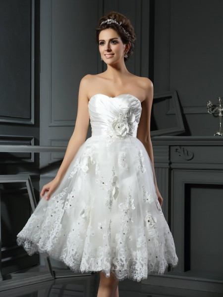 A-Line/Princess Sweetheart Satin Tea-Length Ruched Wedding Dress With Pleats