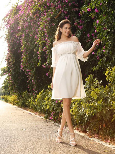 A-Line/Princess Off-the-Shoulder Chiffon 1/2 Sleeves Knee-Length Wedding Dress With Sash