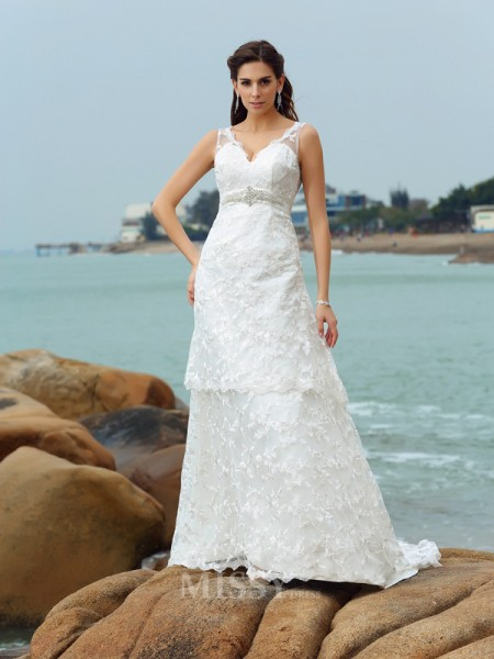 A-Line/Princess Straps Satin Chapel Train Wedding Dress With Ruched