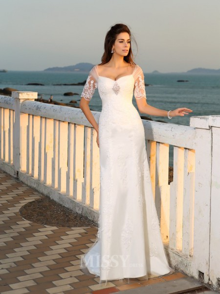 Sheath/Column Sweetheart Floor-Length Short Sleeves Satin Wedding Dress With Lace