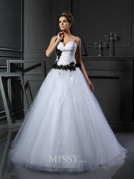 Ball Gown Straps Tulle Chapel Train Beading Wedding Gown With Embroidery
