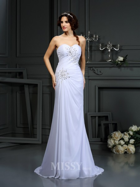 Sheath/Column Sweetheart Chiffon Sweep/Brush Train Wedding Dress With Embroidery