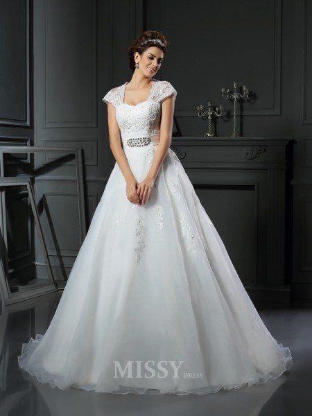Ball Gown Square Organza Chapel Train Applique Wedding Dress With Sash Beading