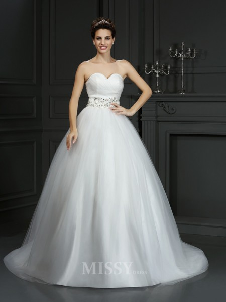 Ball Gown Sweetheart Court Train Net Wedding Dress With Beading
