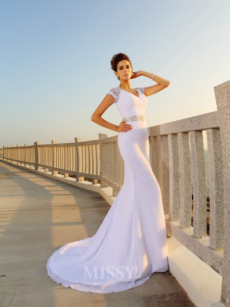 Sheath/Column V-neck Court Train Chiffon Wedding Dress With Ruched Beading