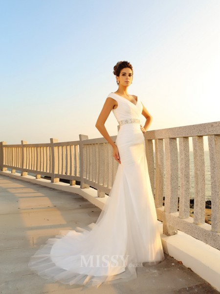 Sheath/Column Court Train V-neck Net Wedding Dress With Embroidery Pleats