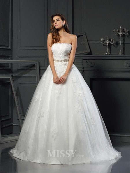 Ball Gown Strapless Net Court Train Wedding Dress With Pleats Applique