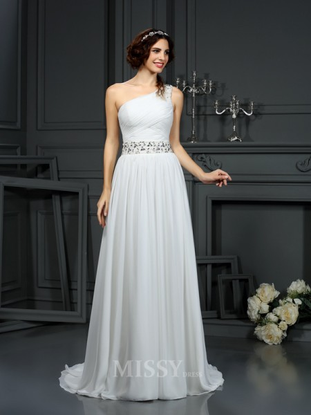 A-Line/Princess One-Shoulder Court Train Chiffon Wedding Dress With Sash Beading