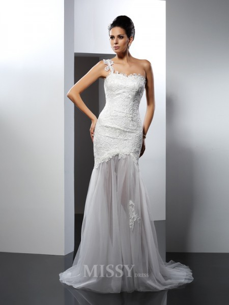 Trumpet/Mermaid One-Shoulder Chapel Train Lace Wedding Dress With Ruffles