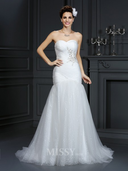 Sheath/Column Sweetheart Court Train Net Wedding Dress With Ruched Beading