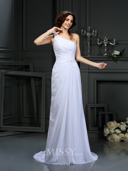 A-Line/Princess One-Shoulder Court Train Chiffon Wedding Dress With Embroidery Pleats