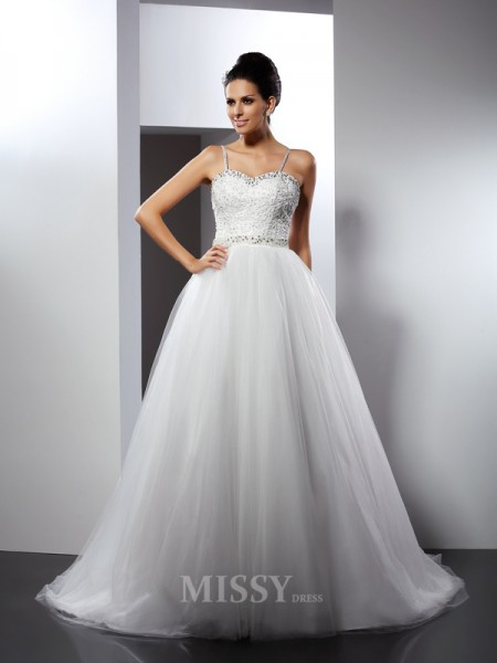 A-Line/Princess Spaghetti Straps Chapel Train Tulle Wedding Dress With Pleats Beading