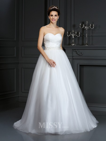 Ball Gown Sweetheart Court Train Net Wedding Dress With Rhinestone
