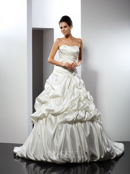 Ball Gown Sweetheart Cathedral Train Satin Wedding Dress With Beading