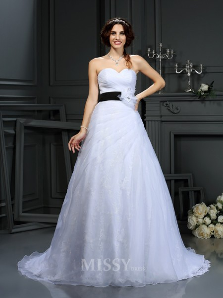 A-Line/Princess Sweetheart Satin Court Train Wedding Dress With Rhinestone Sash/Ribbon/Belt