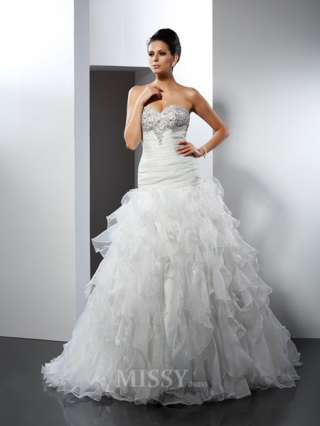 Ball Gown Sweetheart Court Train Tulle Wedding Dress With Ruched Ruffles