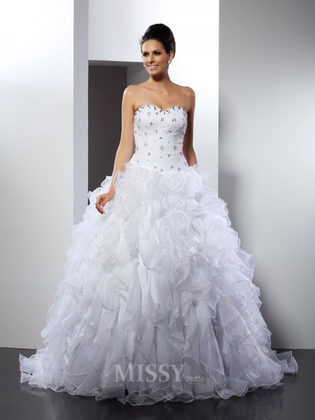 Ball Gown Sweetheart Court Train Satin Wedding Dress With Pleats Ruffles