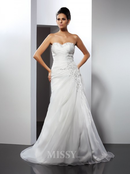 A-Line/Princess Sweetheart Court Train Organza Wedding Dress With Sash Applique