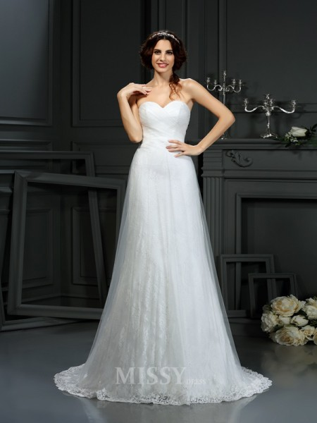 A-Line/Princess Sweetheart Net Court Train Wedding Dress With Ruffles Pleats