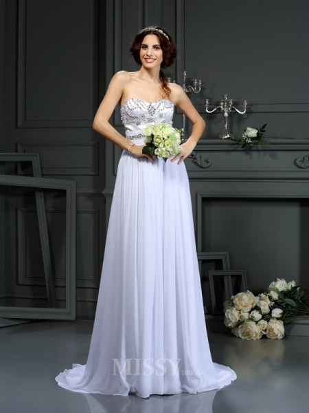 A-Line/Princess Sweetheart Chiffon Court Train Wedding Dress With Applique