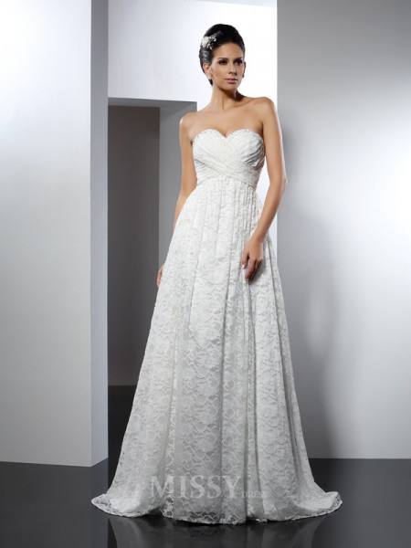 A-Line/Princess Sweetheart Sweep/Brush Train Satin Wedding Dress With Embroidery