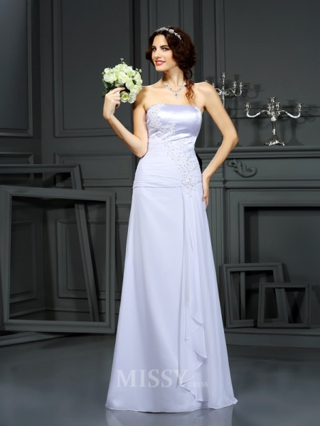 Sheath/Column Strapless Chiffon Sweep/Brush Train Wedding Dress With Sash
