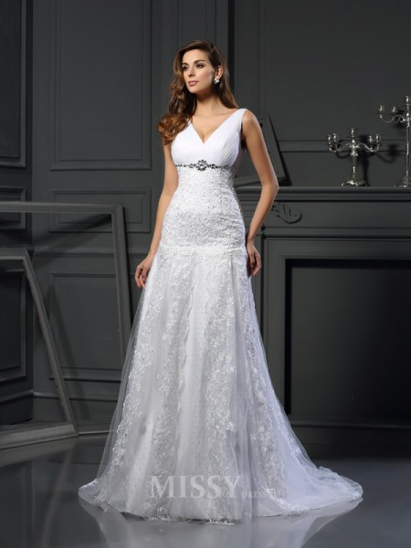 A-Line/Princess V-neck Satin Chapel Train Wedding Gown With Beading Applique